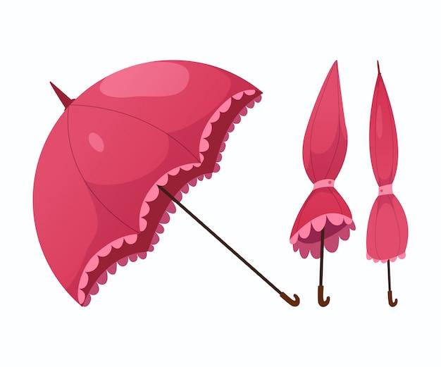 Kolekcja różowych parasoli