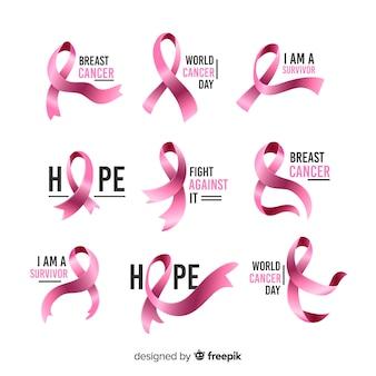 Kolekcja różowych wstążek na raka piersi