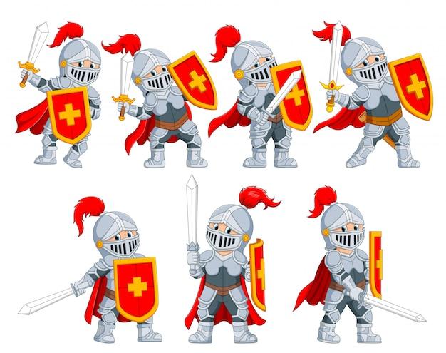 Kolekcja rycerza z różnym pozowaniem