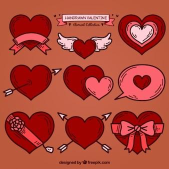 Kolekcja rysowane ręcznie dekoracyjne serca