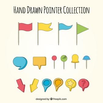 Kolekcja rysowane ręcznie wskaźników