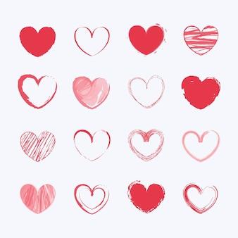 Kolekcja rysowane serca