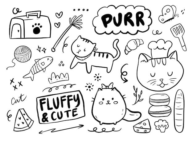 Kolekcja rysunków ładny dziecinny kot doodle
