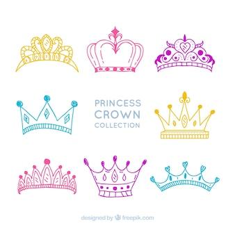 Kolekcja rysunków z koronami księżniczki