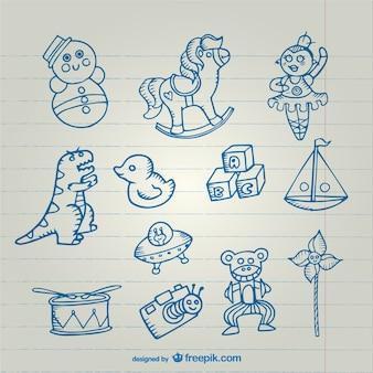 Kolekcja rysunków zabawki