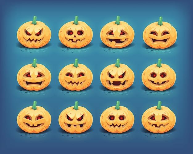 Kolekcja rzeźbionych twarzy dyni halloween. ilustracja