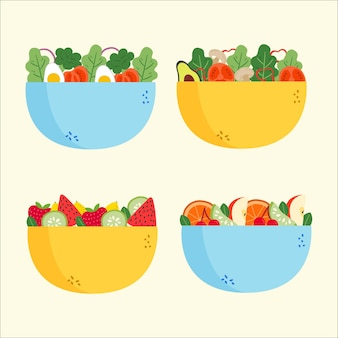 Kolekcja sałatek i mis owocowych