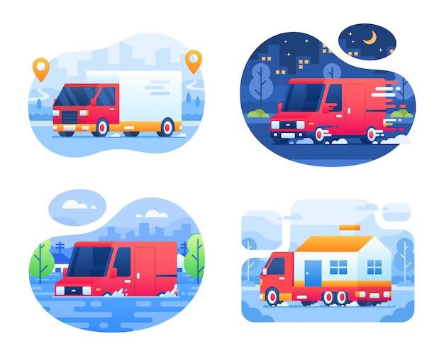 Kolekcja samochodów dostawczych i dostawczych z miasta w tle