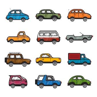 Kolekcja samochodów i ciężarówek ilustracja