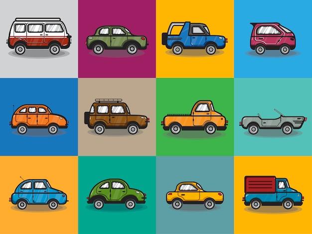 Kolekcja samochodów i ciężarówek ilustracji