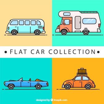 Kolekcja samochodów i przyczep w płaskiej konstrukcji