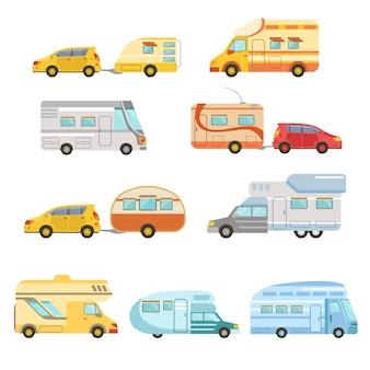 Kolekcja samochodów kempingowych z przyczepami