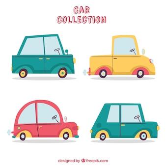 Kolekcja samochodów kreskówka z widokiem z boku