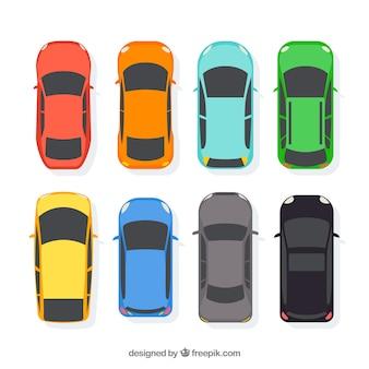 Kolekcja samochodów płaskich w widoku z góry