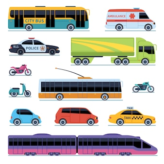 Kolekcja samochodów. transport miejski pojazdów. samochody, skutery motocykla. widok z boku miejskich auto na białym tle zestaw