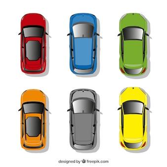 Kolekcja samochodów w widoku z góry