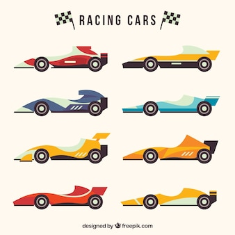 Kolekcja samochodów wyścigowych formuły 1 o płaskiej konstrukcji
