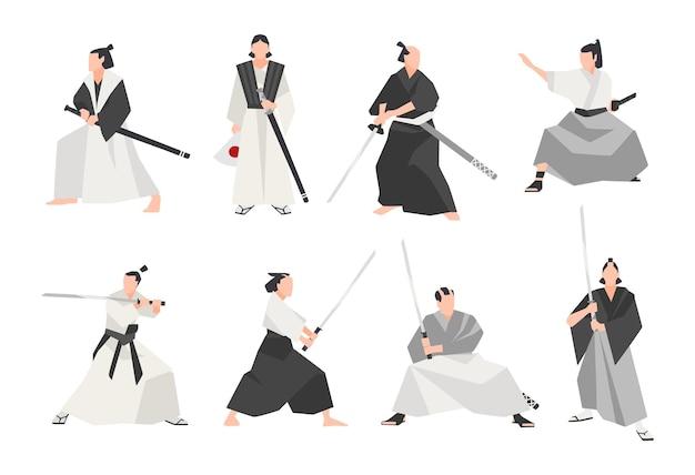 Kolekcja samurajów na białym tle. zestaw męskich japońskich wojowników w różnych ubraniach, stojących w różnych pozycjach i trzymających miecze katana. ilustracja wektorowa płaski kreskówka