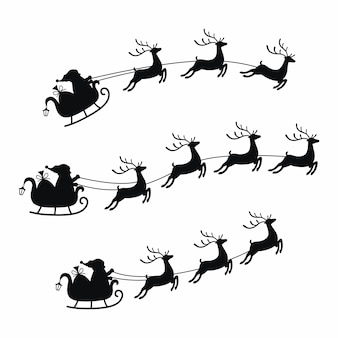 Kolekcja sań z torbą prezentów i reniferów, sanki świętego mikołaja. świąteczny element z uroczymi jeleniami.