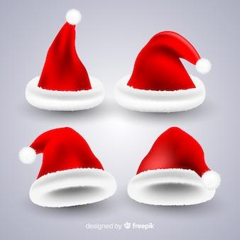 Kolekcja santa hat realistyczny styl