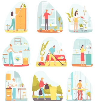 Kolekcja scen z ludźmi wykonującymi prace domowe płaska ilustracja na pocztówki plakatów banerów