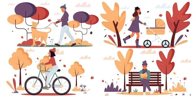 Kolekcja scen z postaciami wektorowymi w jesiennym parkuilustracja wektorowapłaska konstrukcja