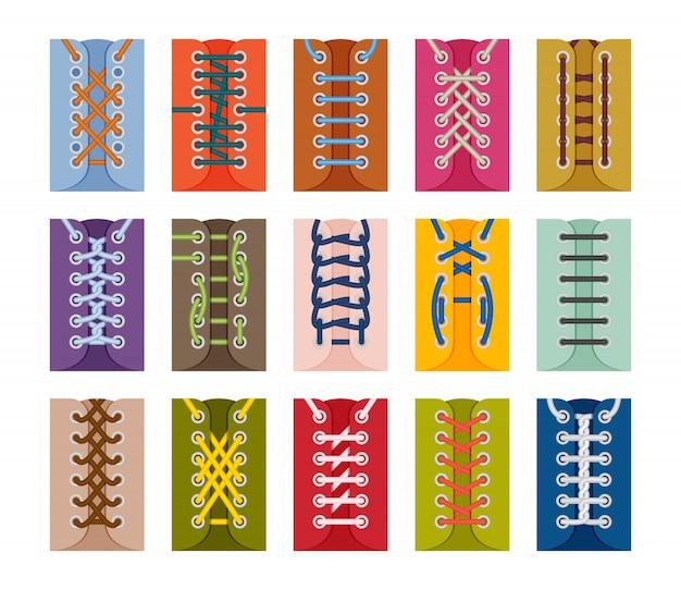Kolekcja schematów sznurowania butów. zestaw ikon. ilustracja