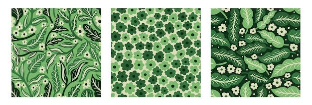 Kolekcja seamles wzór kwiat i roślinaręcznie rysowany nadruk z tkaninyvintage kwiatowy wzór