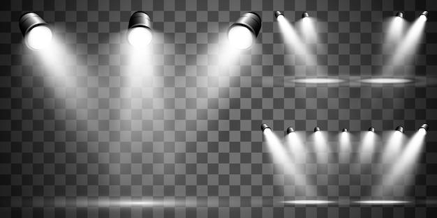 Kolekcja searchlight do oświetlenia scenicznego, efekty świetlne transparentne. jasne, piękne oświetlenie z reflektorami.