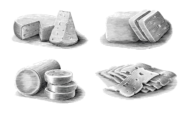 Kolekcja sera ręcznie rysowane vintage grawerowanie styl czarno-białe clipart na białym tle