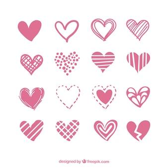 Kolekcja serc z różnych wzorów