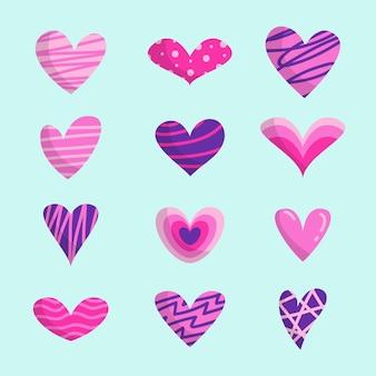 Kolekcja serca ręcznie rysowane styl