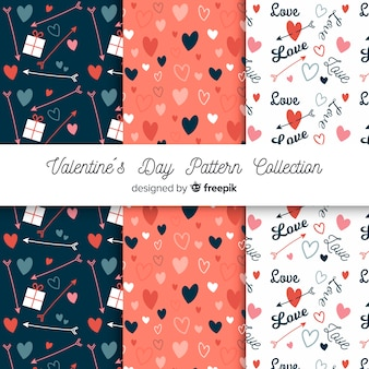 Kolekcja serca valentine, słowa i strzałki