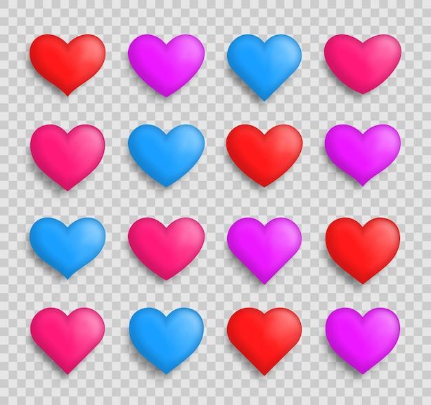 Kolekcja serca, zestaw symboli miłości, różne serca na przezroczystym tle.