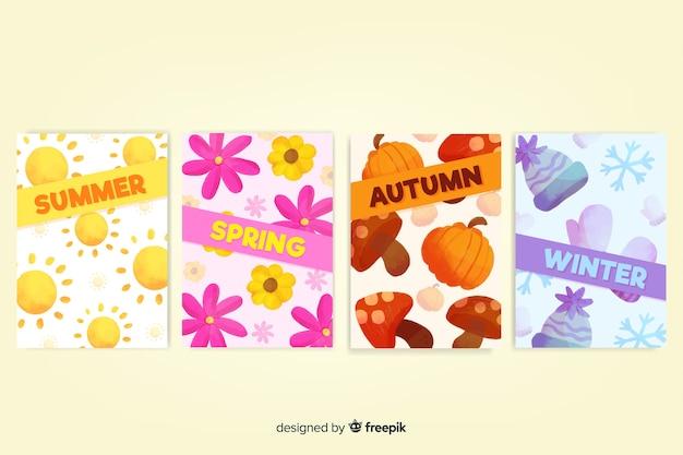 Kolekcja sezonowych plakatów w stylu akwareli