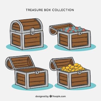 Kolekcja skrzyń skarbów w stylu wyciągnąć rękę