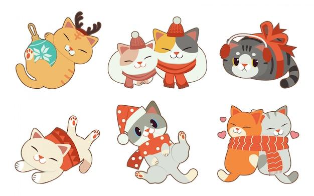 Kolekcja ślicznego kota z bożonarodzeniowym tematem na białym tle