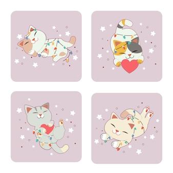 Kolekcja ślicznego kota z żarówką. ładny kot śpi na ziemi z żarówką i gwiazdami