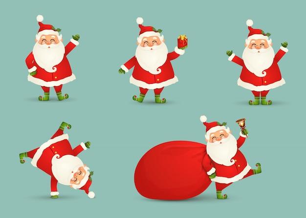 Kolekcja śliczny bożenarodzeniowy święty mikołaj odizolowywał. świąteczny zestaw wesołej, zabawnej śnięty mikołaj na ferie zimowe. szczęśliwy święty mikołaj postać z kreskówki przygotowywający nowy rok. .