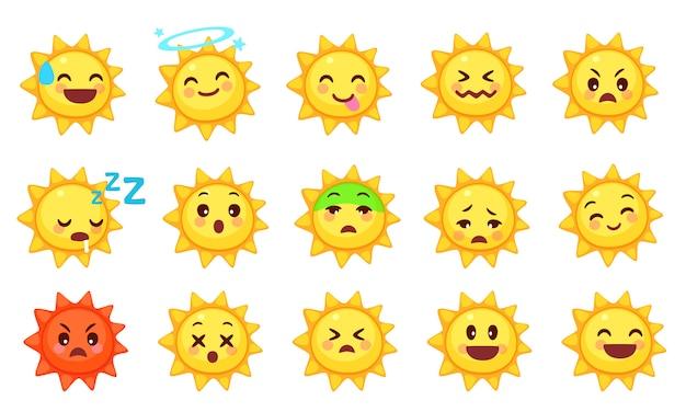 Kolekcja ślicznych emotikonów słońca