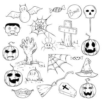 Kolekcja ślicznych halloweenowych elementów lub ikon z szkicowym stylem