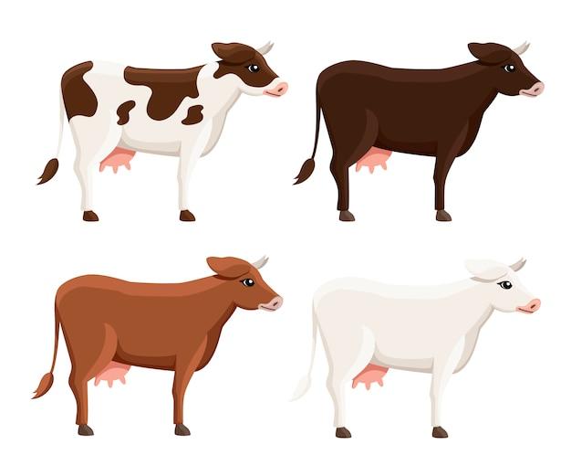Kolekcja ślicznych krów. zwierząt gospodarskich. styl zwierząt. ilustracja na białym tle