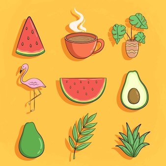 Kolekcja ślicznych letnich ikon z flamingiem, awokado i arbuzem