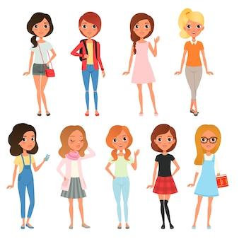 Kolekcja ślicznych nastolatek ubranych w stylowe ubrania