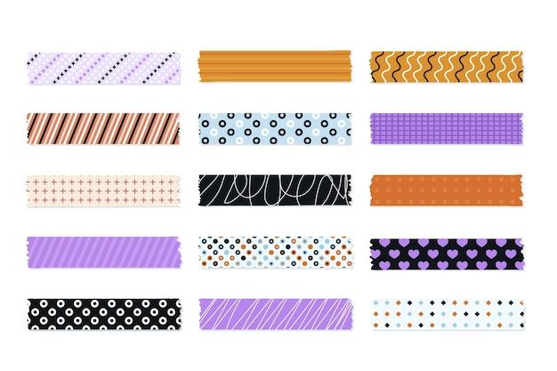 Kolekcja ślicznych płaskich taśm washi