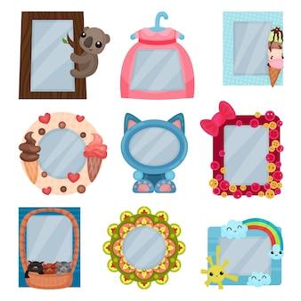 Kolekcja ślicznych ramek do zdjęć, szablonów albumów dla dzieci z miejscem na zdjęcie lub tekst, karty, ramki do zdjęć ilustracja na białym tle