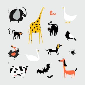 Kolekcja ślicznych zwierząt ilustracyjnych