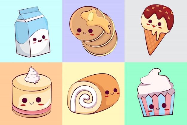 Kolekcja słodkich ciastek kawaii