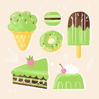 Kolekcja słodkich deserów matcha