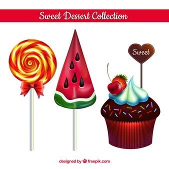 Kolekcja słodkich deserów w realistycznym stylu